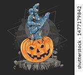 pumpkin zombie hand halloween...   Shutterstock .eps vector #1477179842
