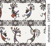 hand drawn kokopelli seamless...   Shutterstock . vector #1477184378