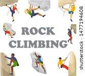 mountain climbing vector... | Shutterstock .eps vector #1477194608