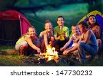 group of happy kids roasting... | Shutterstock . vector #147730232