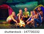 group of happy kids roasting... | Shutterstock . vector #147730232