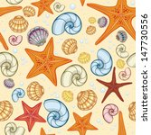 sea snail  shells and starfish... | Shutterstock .eps vector #147730556