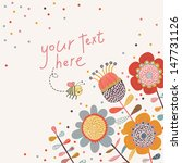 Bright Floral Card In Vector....