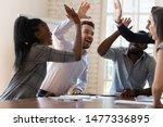 Multiracial Euphoric Business...
