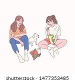 two little girls are eating... | Shutterstock .eps vector #1477353485