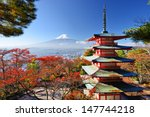 mt. fuji with fall colors in... | Shutterstock . vector #147744218