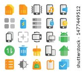 mobile ui icon flat style for...