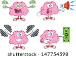 brain cartoon mascot collection ... | Shutterstock . vector #147754598