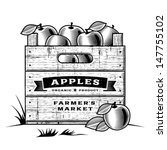 Retro Crate Of Apples Black An...