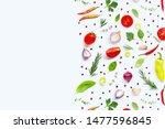various fresh vegetables and... | Shutterstock . vector #1477596845