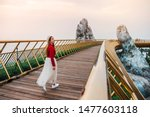 Travel Woman At Golden Bridge...