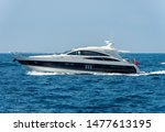 White And Blue Luxury Yacht In...