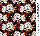 seamless abstract ikat floral... | Shutterstock .eps vector #1477624805