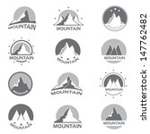 Mountain Icons Set - Isolated On White Background - Vector Illustration, Graphic Design Editable For Your Design.