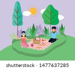 young people picnic in the park | Shutterstock .eps vector #1477637285