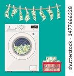 washing machine full of dollars ... | Shutterstock .eps vector #1477666328