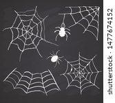 spider web set hand drawn... | Shutterstock . vector #1477674152