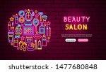 beauty salon neon banner design.... | Shutterstock .eps vector #1477680848