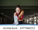 beautiful young girl stretching ... | Shutterstock . vector #1477686212