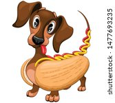 dachshund hot dog cute and... | Shutterstock .eps vector #1477693235