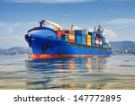 blue cargo container ship... | Shutterstock . vector #147772895