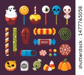 halloween candies flat vector... | Shutterstock .eps vector #1477765058