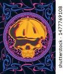 skull in a cap psychedelic art... | Shutterstock .eps vector #1477769108