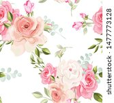 beautiful floral and leaves... | Shutterstock .eps vector #1477773128