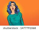 pop art surprised woman face...   Shutterstock .eps vector #1477791068
