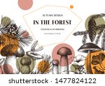 vector conifers and mushrooms... | Shutterstock .eps vector #1477824122