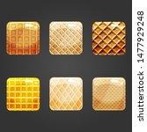 set of shiny waffle square...