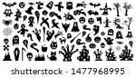set of silhouettes of halloween ... | Shutterstock .eps vector #1477968995