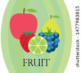 fruits and berries. colorful... | Shutterstock .eps vector #1477983815