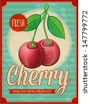 Vector Vintage Styled Cherry...