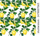 lemon on a branch seamless... | Shutterstock . vector #1478007065