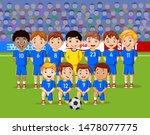 cartoon soccer kids team at a... | Shutterstock .eps vector #1478077775