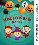 halloween party lettering with... | Shutterstock .eps vector #1478085635