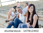 college friends sitting togther ... | Shutterstock . vector #147812402