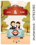 just married   cute wedding car ... | Shutterstock .eps vector #147813482