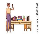 woman standing with bookshelf... | Shutterstock .eps vector #1478135642