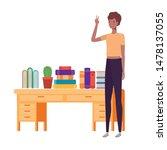 woman standing with bookshelf... | Shutterstock .eps vector #1478137055