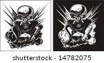 vector b w detailed skull with...