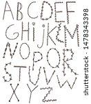 latin alphabet. black and... | Shutterstock . vector #1478343398