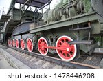 Railway wheels of the installation-conveyor marine railway artillery TM-3-12 caliber 305 mm, USSR. Military equipment of the Second world war.