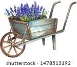 Wooden Wheelbarrow With...
