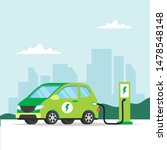 electric car charging on city... | Shutterstock . vector #1478548148