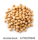 Pile Of Chickpeas On A White...