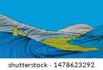minimalist landscape line art... | Shutterstock .eps vector #1478623292