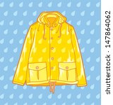 yellow raincoat on a light blue ... | Shutterstock .eps vector #147864062