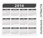 2014 Calendar  Vector Eps10...